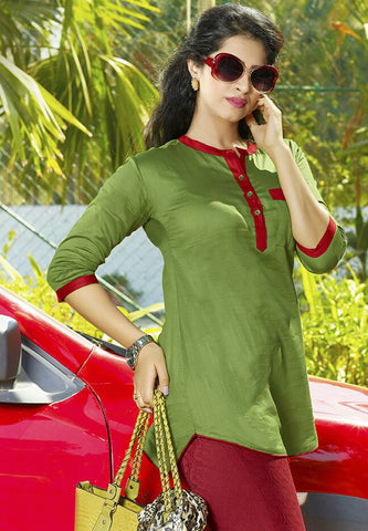 Women Green Satin Glaze Cotton Printed Shirt