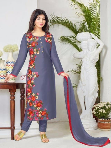 Rukhad Fashion Voilet Cotton Straight Patiyala Suit