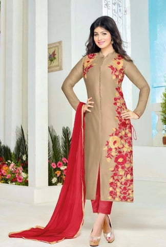 Rukhad Fashion Brown & Red Cotton Straight Patiyala Suit
