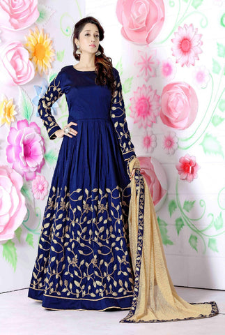 Rukhad Fashion  Navy Blue Tapheta Gown.