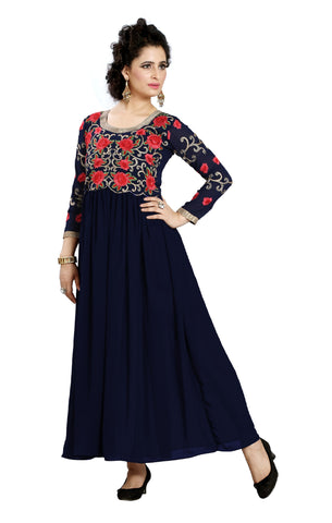 Rukhad Fashion Blue Anarkali Georgette Gown