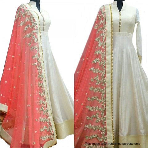 Cream & Pink Color Anarkali Suit , anarkali- Rukhad Fashion