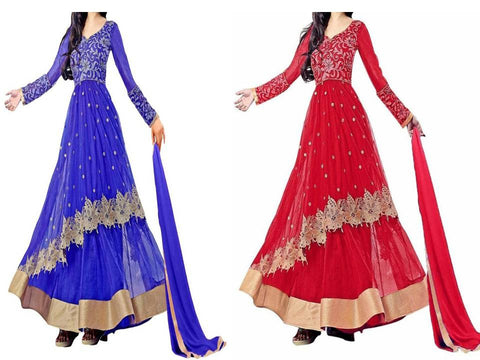 Special Blue & Red Color Net Embroidered Anarkali Dress Combo
