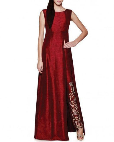 Maroon Tapeta & Raw Silk Anarkali Suit , anarkali- Rukhad Fashion
