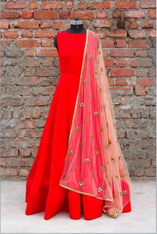 Designer Red Anarkali Dress Material Without Bottom , anarkali- Rukhad Fashion