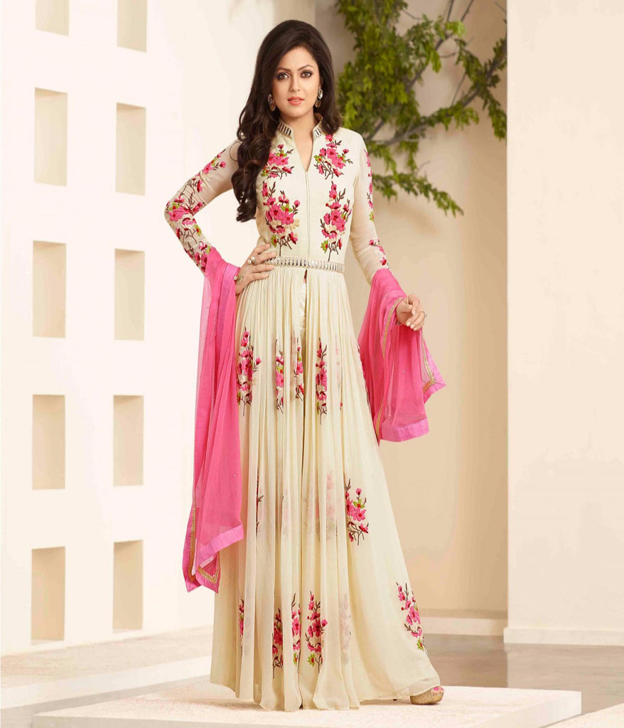 TRENDY CREAM EMBROIDERY ANARKLI SUIT , anarkali- Rukhad Fashion