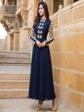 Navy Blue Trendy Embroidered Anarkali Dress , anarkali- Rukhad Fashion