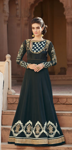 Black Color Georgette With Embroidered Hand Embllished Yoke Work Designer Anarkali Suit.