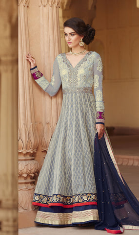 Grey & Blue Color Banarasi Jacquard Net With Embroidered Hand Embllished Yoke Work Designer Anarkali Suit.