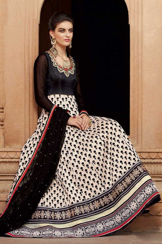 Black & White Color Banarasi Net+ FloK Print With Embroidered Hand Embllished Yoke Work Designer Anarkali Suit.