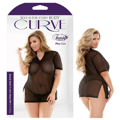 Curve Brandy Mesh V-Neck Sleep Shirt & G-string