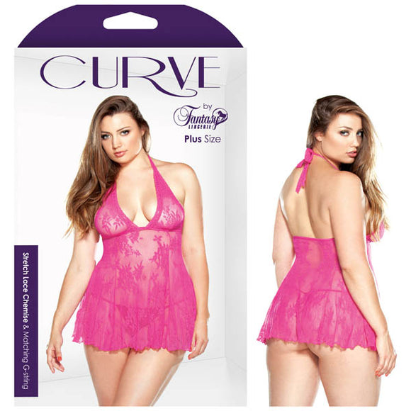 Curve Daniella Stretch Lace Chemise and Matching G-string