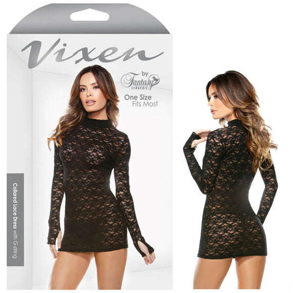 Tease Demi Collared Lace Dress With G-String