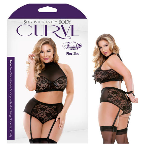 Curve Katia Two Piece Halter Bra Top with Matching Gartered Panty