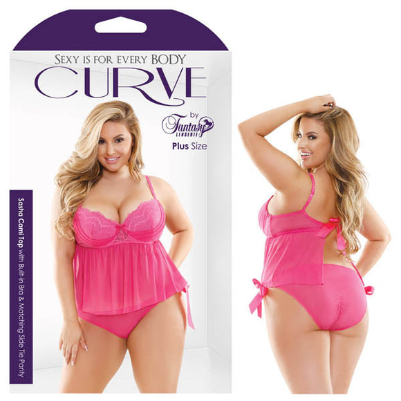 Curve Sasha Cami Top With Built-In Bra & Matching Side Tie Panty