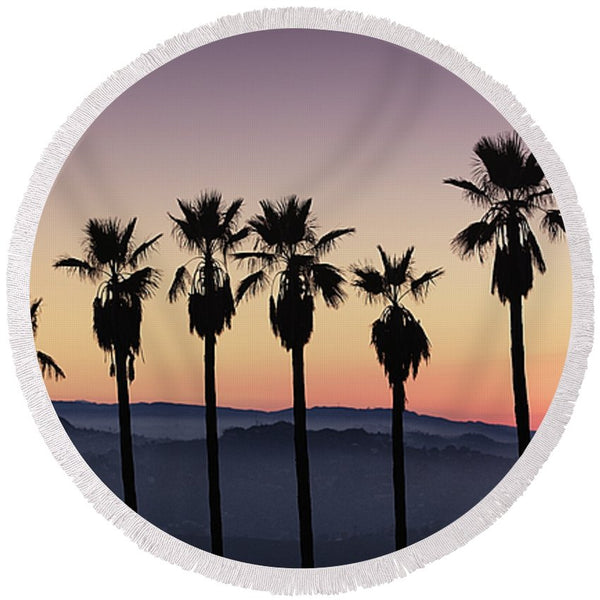 Sunset By La - Round Beach Towel