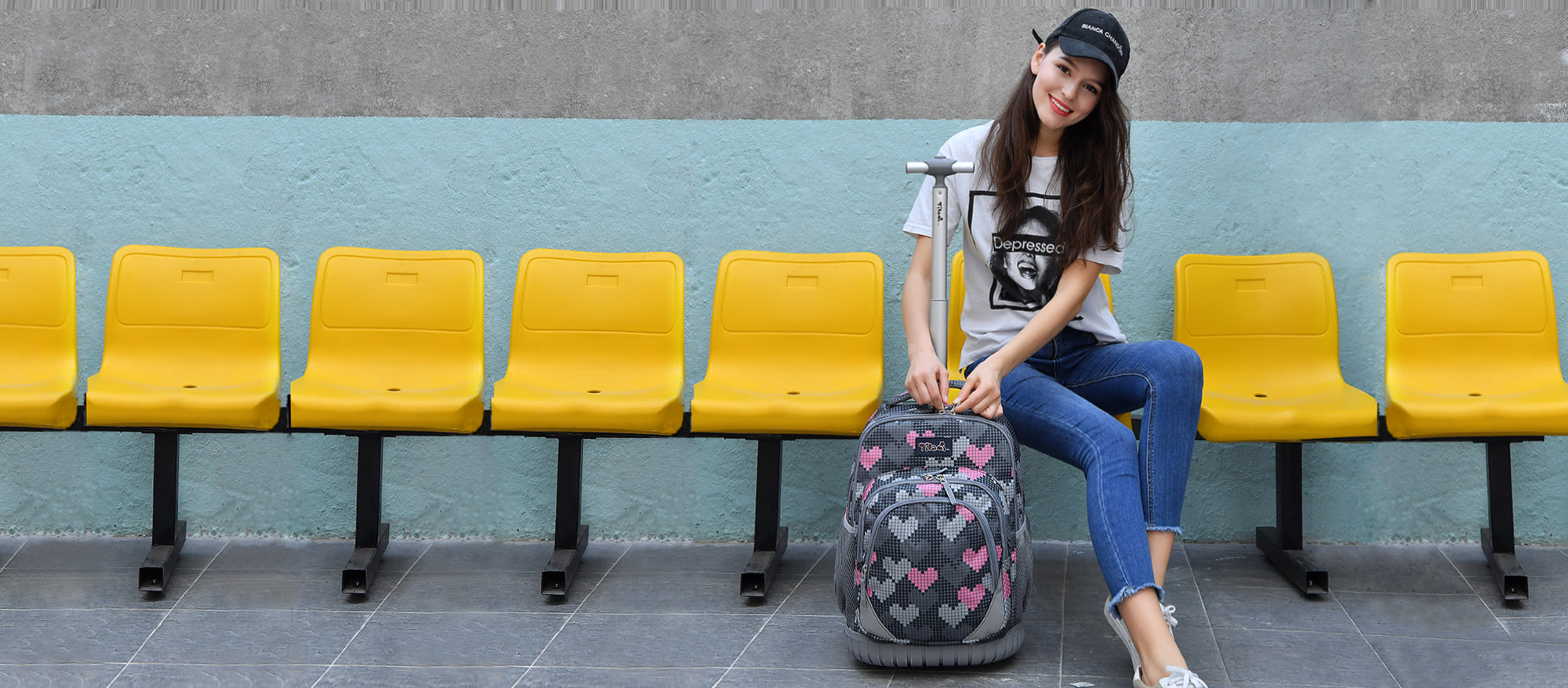 Rolling backpacks for girl with wheels