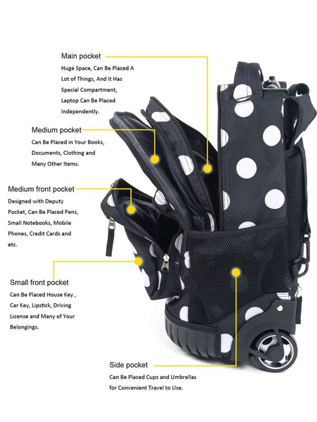 Tilami Rolling Backpack Armor Luggage School Travel Book Laptop 18 Inch Multifunction Wheeled Backpack Polo Dots - Tilamibag