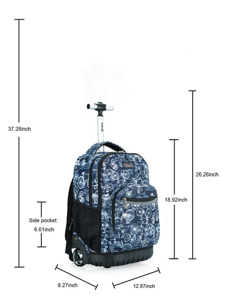 Tilami Bicycle Rolling Backpack Rolling Backpack 18 Inch For School and Travel - Tilamibag