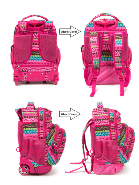 Tilami Girl 18 Inch Wheeled Rolling Backpack Luggage & Lunch Bag (Pink love) - Tilamibag