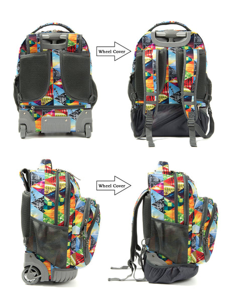 Tilami New Antifouling Design 18 Inch Wheeled Rolling Backpack Luggage & Lunch Bag (Geometric) … - Tilamibag