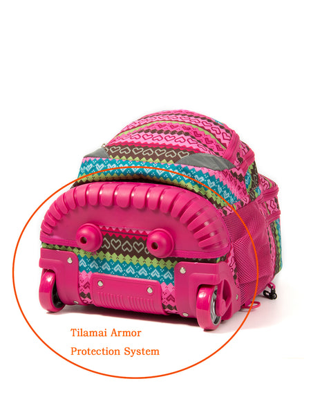 Tilami Girl 18 Inch Girl Rolling Backpack Armor Luggage School Travel Book Laptop Multifunction Wheeled Backpack,Abstract style - Tilamibag
