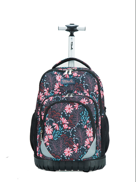Tilami Rolling Boy Rolling Backpack For School & Travel Wheeled Backpack Red Daisies - Tilamibag