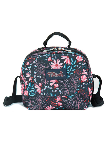 Tilami 18 Inch Wheeled Rolling Backpack Luggage and Lunch Bag Set Red Daisies - Tilamibag
