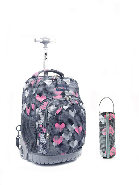Tilami Girl 18 Inch Rolling Backpack for School Travel with Pencil Case (Grey Heart) - Tilamibag