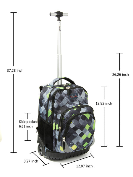 Tilami18 Inch Wheeled Rolling Backpack Luggage& Lunch Bag Set Argyle Darkgray - Tilamibag