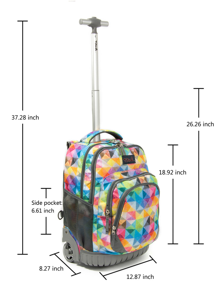Tilami Rolling Backpack Armor Luggage School Travel Book Laptop 18 Inch Multi...