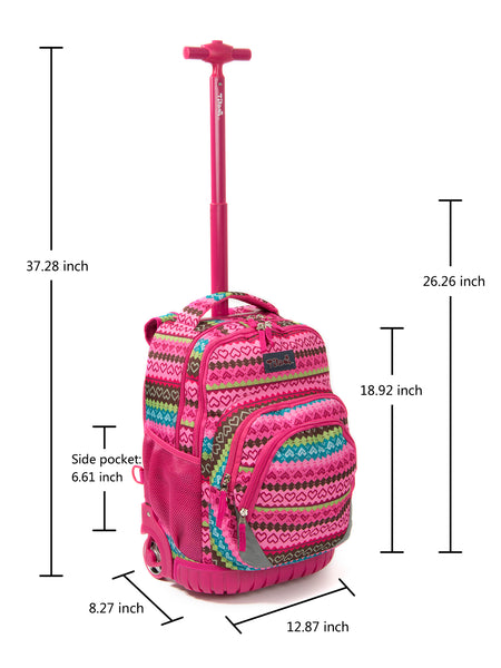 Tilami Red Girl 18 Inch Wheeled Rolling Backpack Luggage & Lunch Bag (Pink love) - Tilamibag
