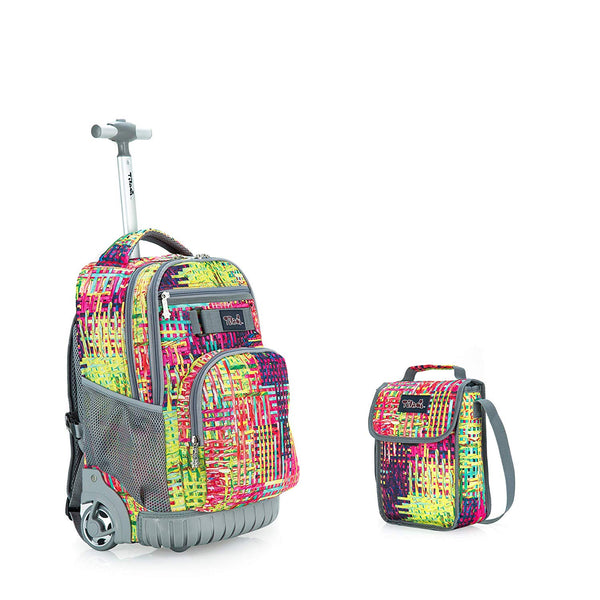 Tilami New Antifouling Design 18 Inch Wheeled Rolling Backpack Luggage & Lunch Bag,Woven pattern 2 - Tilamibag