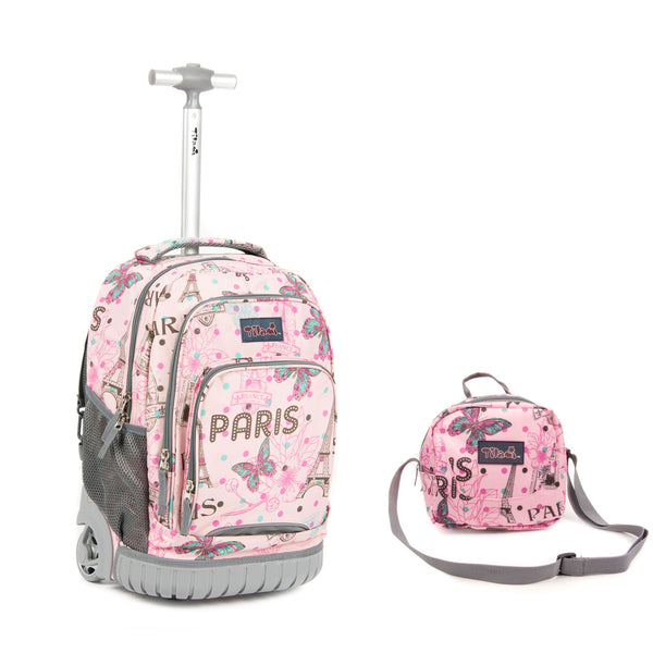 Tilami Cute Girl 18 Inch Wheeled Rolling Backpack Luggage and Lunch Bag (Pink Butterfly 3) - Tilamibag