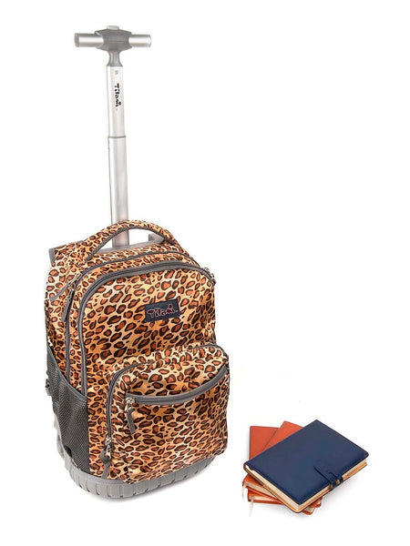 Tilami Rolling Backpack Armor Luggage For School 18 Inch Multifunction Wheeled Backpack Leopard - Tilamibag