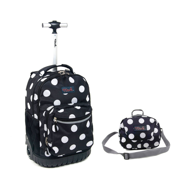 Tilami 18 Inch Wheeled Rolling Backpack Luggage and Lunch Bag Set, Dots - Tilamibag