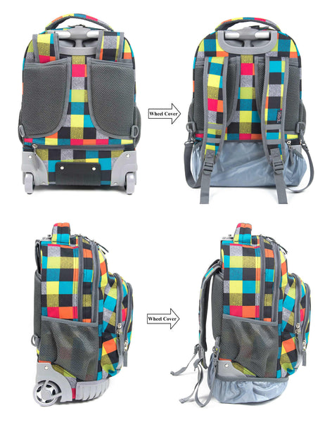 Tilami Rolling Backpack Armor Luggage School Travel Book Laptop 18 Inch Multifunction Wheeled Backpack Check - Tilamibag