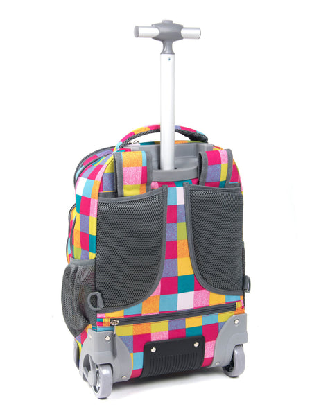 Tilami18 Inch Wheeled Rolling Backpack Luggage& Lunch Bag Set Colourful Checked 2 - Tilamibag