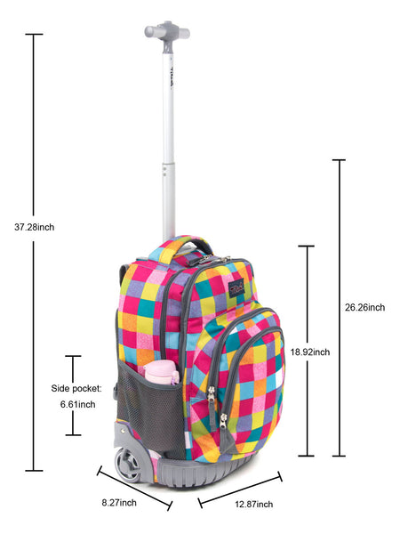 Tilami18 Inch Wheeled Rolling Backpack Luggage& Lunch Bag Set Colourful Checked - Tilamibag