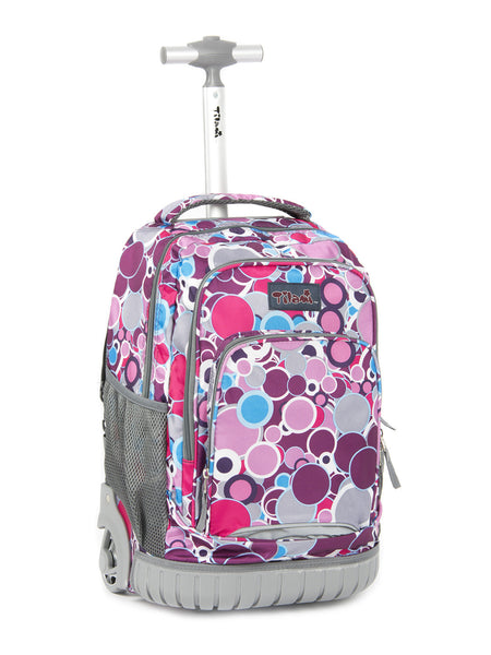 Tilami Girl Rolling Backpack Armor Luggage For School Travel Multifunction Wheeled Backpack Vivid Spotty - Tilamibag