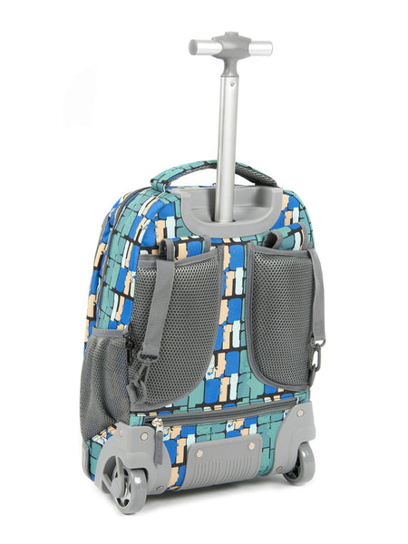 Tilami Rolling Backpack Armor Luggage School Travel Book Laptop 18 Inch Multifunction Wheeled Backpack Blue Grid - Tilamibag