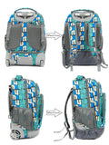 Tilami 18 Inch Wheeled Rolling Backpack Luggage & Lunch Bag(Blue grid) - Tilamibag