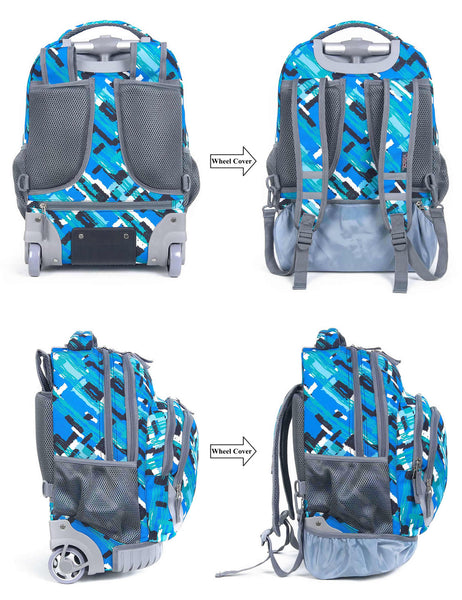 Tilami Blue Boy Rolling Backpack Armor Luggage School Travel Book Laptop 18 Inch Multifunction Wheeled Backpack Cavas bule - Tilamibag