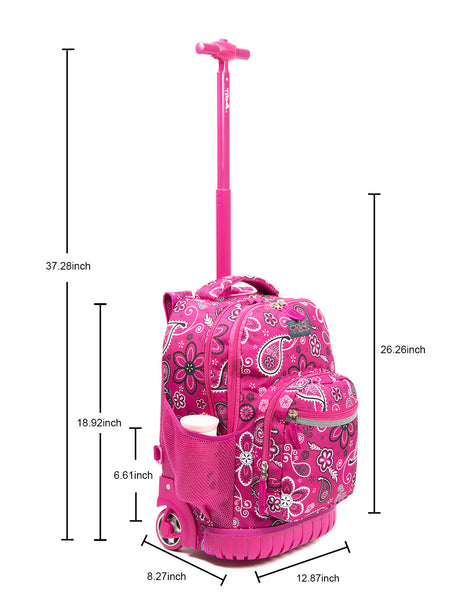 Tilami Rolling Backpack Armor Luggage School Travel Book Laptop 18 Inch Multifunction Wheeled Backpack Motif Red - Tilamibag