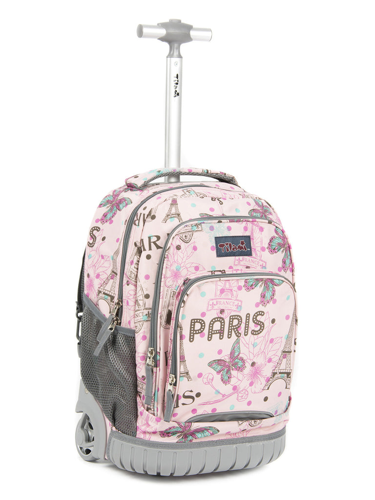 458e1385b786 Tilami Girl Pink Rolling Backpack Armor Luggage School Travel 18 Inch  Multifunction Wheeled Backpack Pink Butterfly