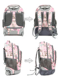 Tilami Girl Pink Rolling Backpack Armor Luggage School Travel 18 Inch Multifunction Wheeled Backpack Pink Butterfly - Tilamibag