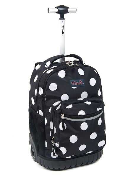 Tilami Cute Girl 18 Inch Wheeled Rolling Backpack Luggage& Lunch Bag Set Polo Dots 2 - Tilamibag