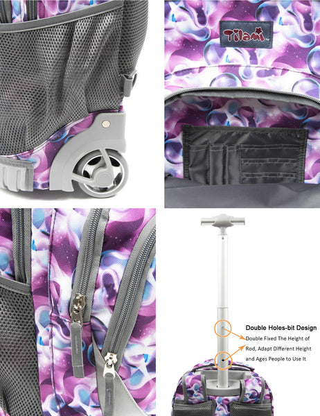 Tilami New Antifouling Design 18 Inch Wheeled Rolling Backpack Luggage and Lunch Bag (Purple Daffodils 3) … - Tilamibag