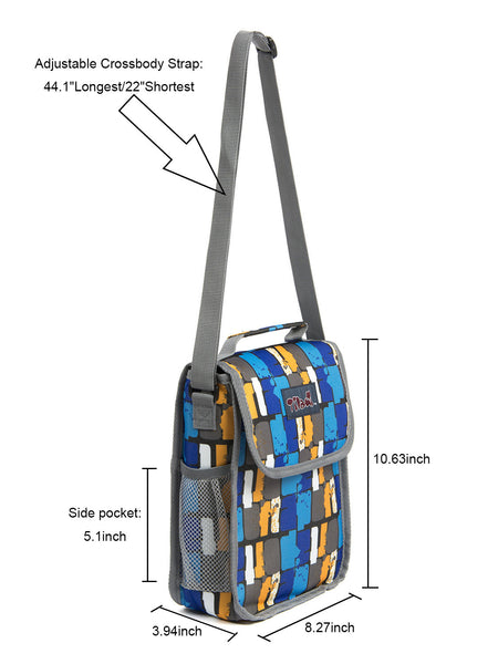 Tilami Insulated Picnic Bag Cooler Bag for School, Camping, Beach, Travel, Car Trip,Blue  grid 2 - Tilamibag