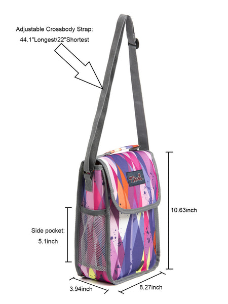 Tilami New Antifouling Design 18 Inch Wheeled Rolling Backpack Luggage & Lunch Bag set (Purple Stripes) - Tilamibag